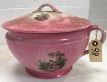 J & G MEAKIN ENGLAND HANDLED CHAMBER POT WITH LID