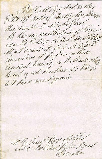 Wellington, Duke of: Handwritten note dated December 1841