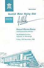 Clark, Jim: Autographed menu, signed