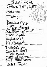 Dylan, Bob: Signed set list from 2001
