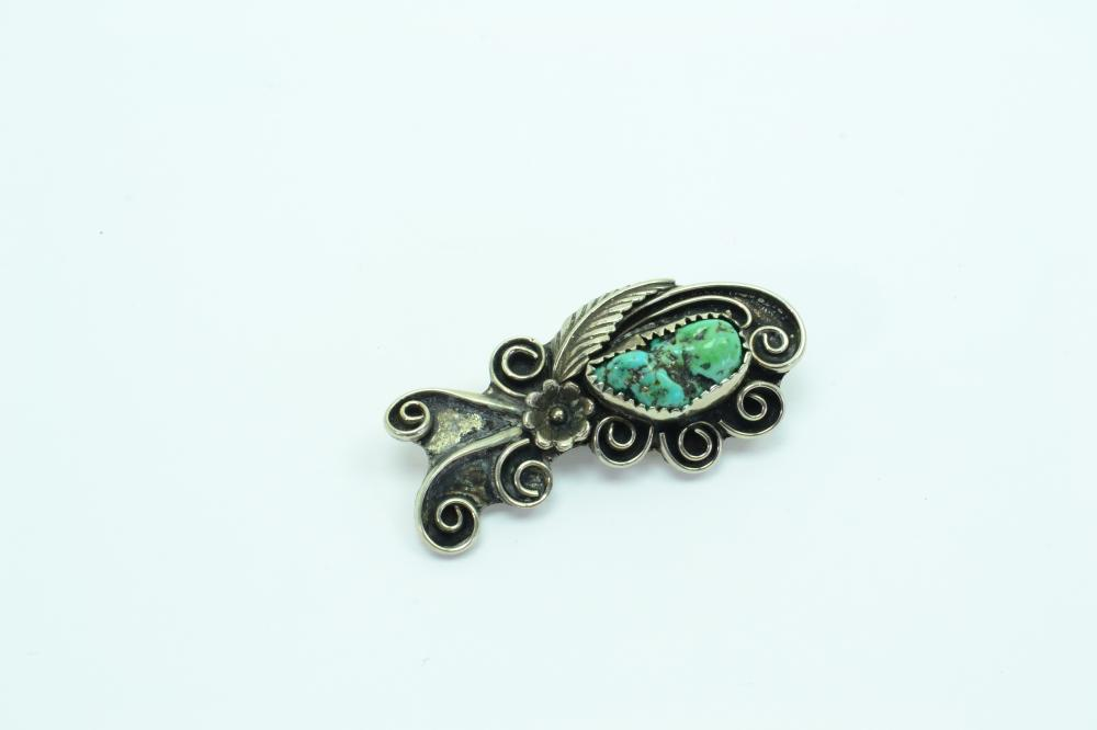 Vintage Native American Navajo Nickel Silver Turquoise Nugget Squash Blossom Feather Brooch