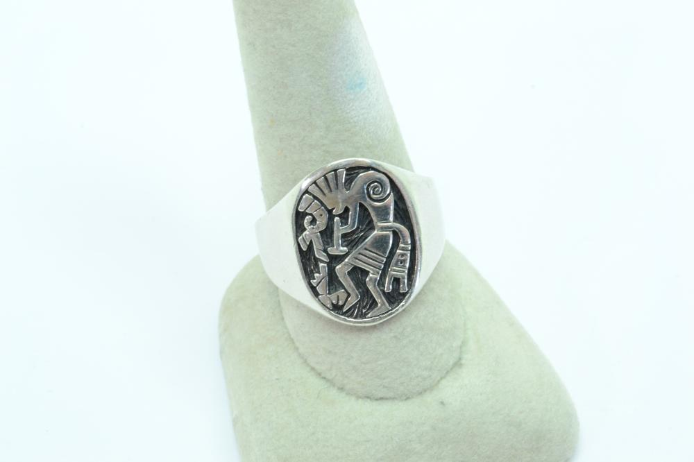Vintage Native American Or Mexico Sterling Silver Kokopelli Mens Ring 9.9G Sz12.5