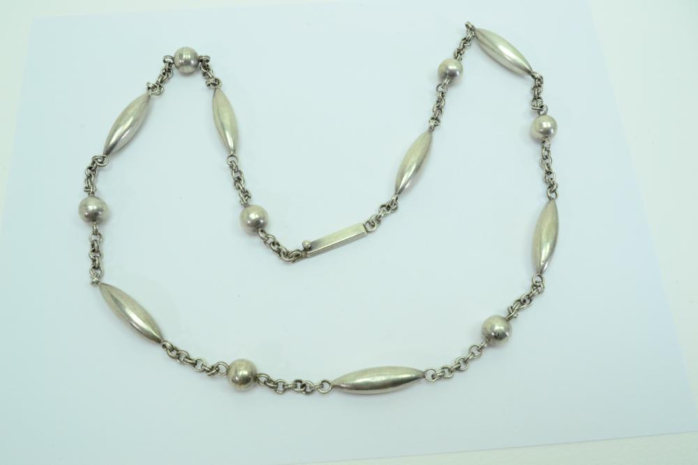 "Vintage Taxco Mexico Rae Sterling Silver Bench Bead 32"" Necklace 55G"