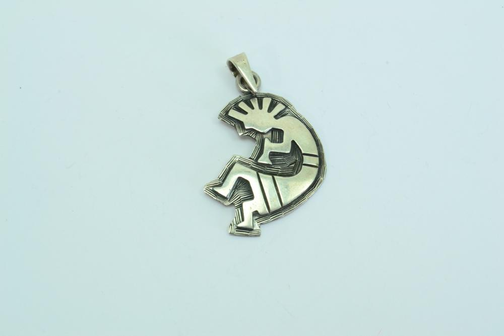 Vintage Mexico Southwestern Sterling Silver Kokopelli Pendant 8G
