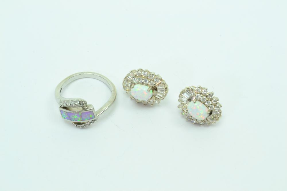 2 Sterling Silver Lab Created Opal & Cz Fashion Ring & Earrings 10G Sz8.5