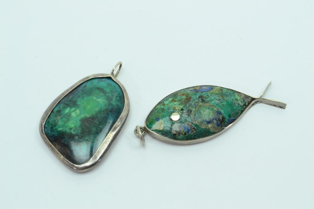 2 Sterling Silver & Chrysocolla Fish & Double Sided Pendants 15G