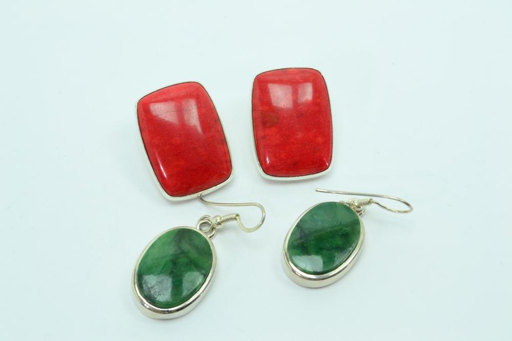 2Pr Mexico Sterling Silver Green Quartz Dangle & Red Coral Post Earrings 26.8G