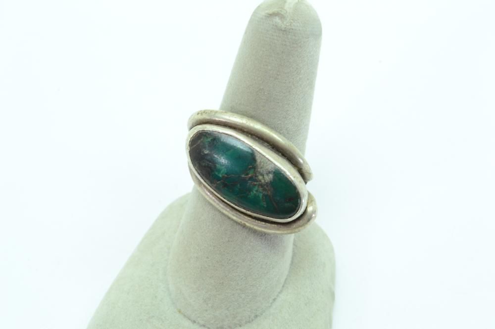 Vintage Native American Navajo Bisbee Bob Sterling Turquoise Modernist Ring 6G Sz7.5