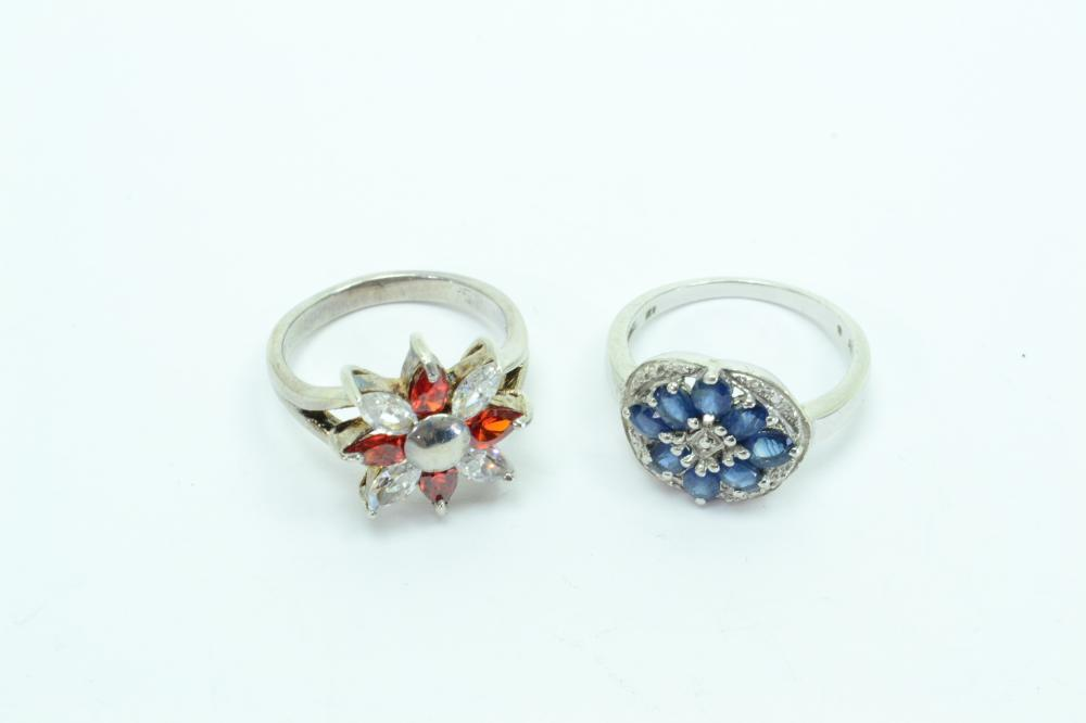 2 Sterling Silver Blue Sapphire & Red Clear Cz Fashion Cluster Cocktail Rings 8.9G Sz8