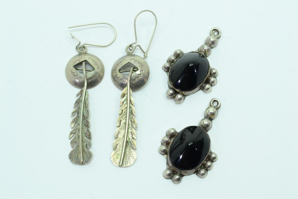 Vintage Mexico & Native American Sterling Dangle Earrings 8G