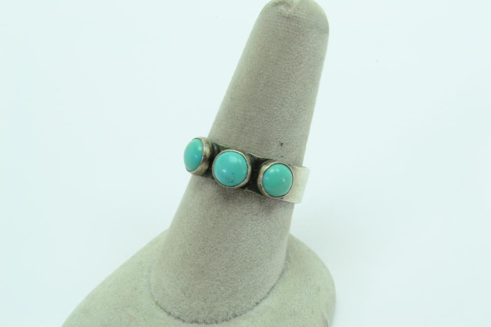 Vintage Mexico Or Native American Sterling Silver Turquoise Ring 5G Sz8