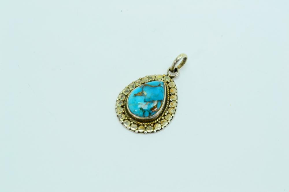 Vintage Native American Or Mexico Sterling Silver Gold Pyrite Matrix Turquoise Pendant 3.8G