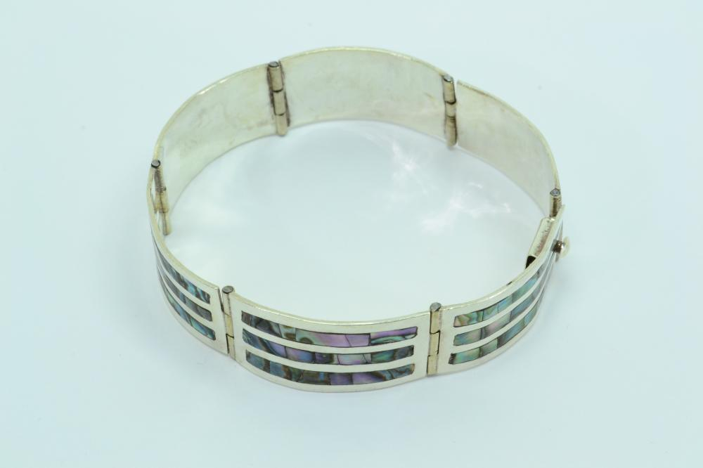 Vintage Mexico Sterling Silver Inlaid Abalone Panel Bracelet 19G