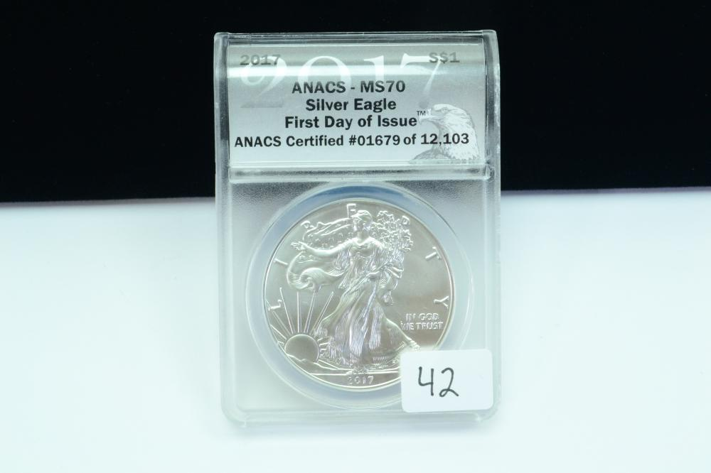 2017 Anacs Ms70 Silver Eagle First Day Issue 1Oz 999 Silver Dollar