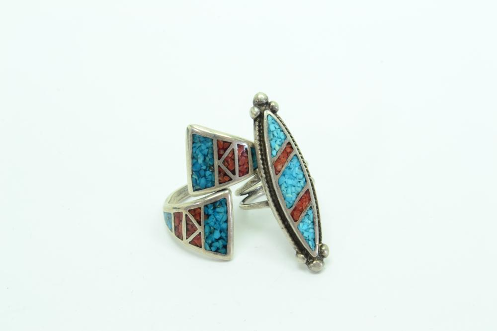 2 Vintage Native American Navajo Sterling Turquoise Coral Chip Inlay Rings 13G Sz4&10
