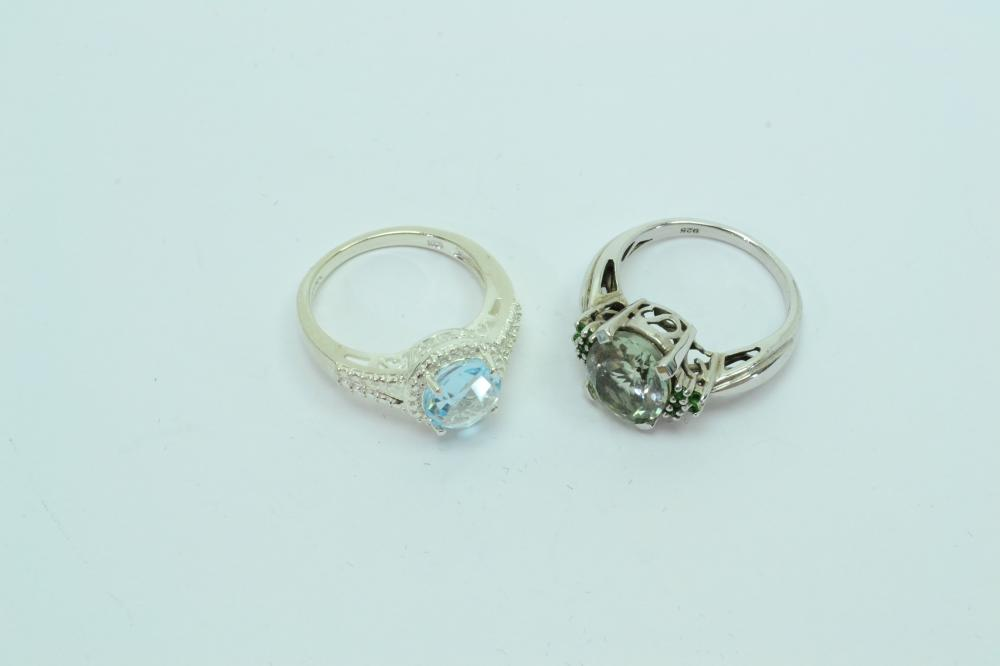 2 Sterling Silver Blue & Green Stone Fashion Cocktail Rings 7.5G Sz7