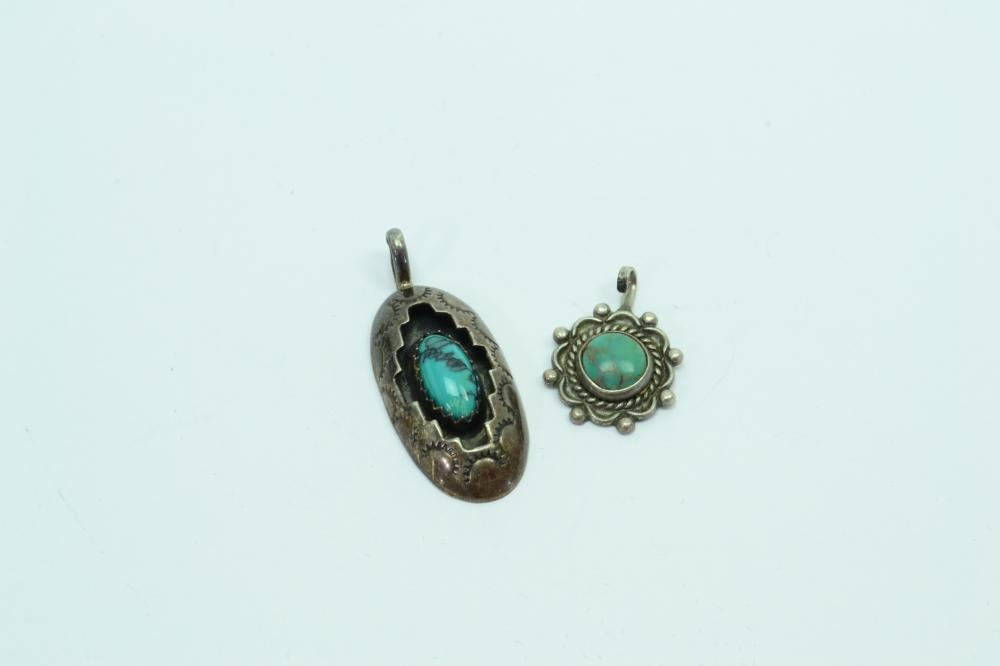 2 Vintage Native American Sterling Turquoise Shadowbox & Charm Pendants 3.8G
