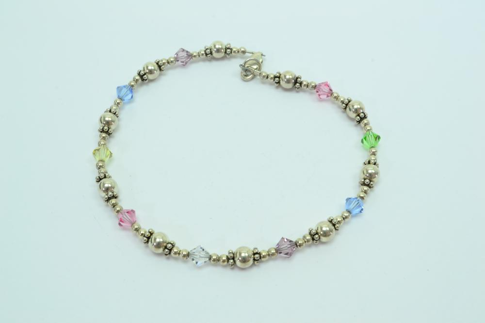Sterling Silver Multicolored Crystal Bead Anklet 10G