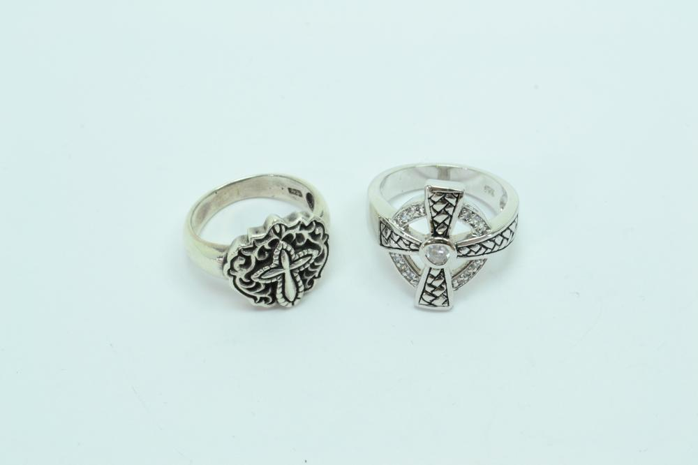 2 Sterling Silver Religious Cross Rings 12G Sz7.5&8