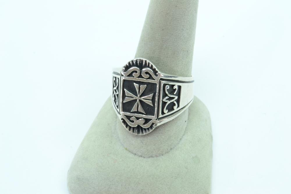 Sterling Silver Mens Iron Cross Ring 10G Sz14.5