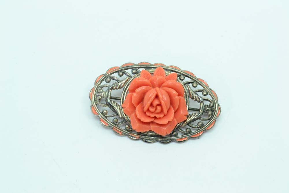 Vintage Sterling Silver Costume Jewelry Faux Coral Flower Brooch 8.9G