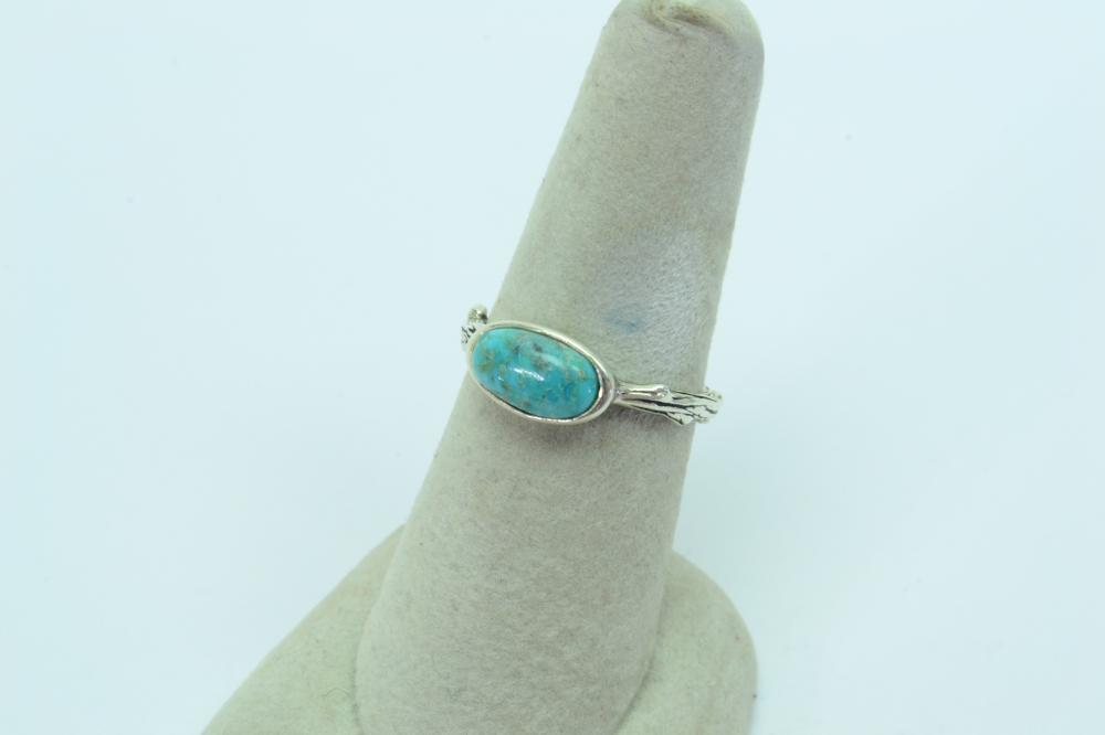 Vintage Barse Thailand Sterling Turquoise Tree Branch Band Ring 3G Sz8