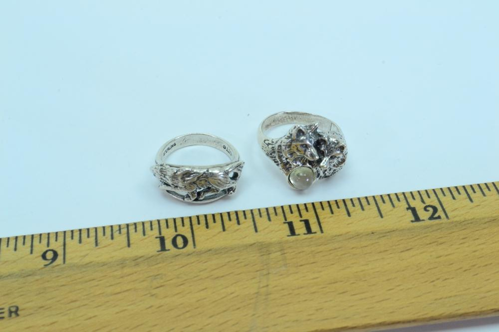 2 Vintage Sterling Silver Wolf Rings 8.9G Sz4&6