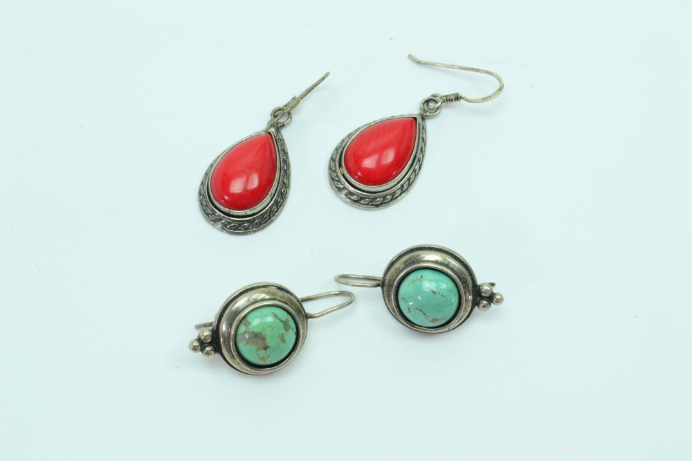 2Pr Sterling Silver Coral & Turquoise Dangle Earrings 13.6G