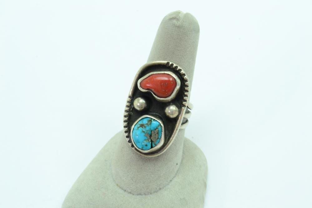 Vintage Native American Navajo Sterling Turquoise Coral Traditional Ring 10G Sz8