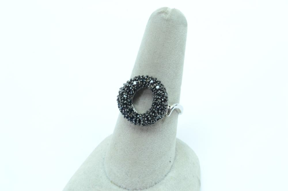 Sterling Silver Black Spinel Donut Cluster Fashion Ring 4.8G Sz8