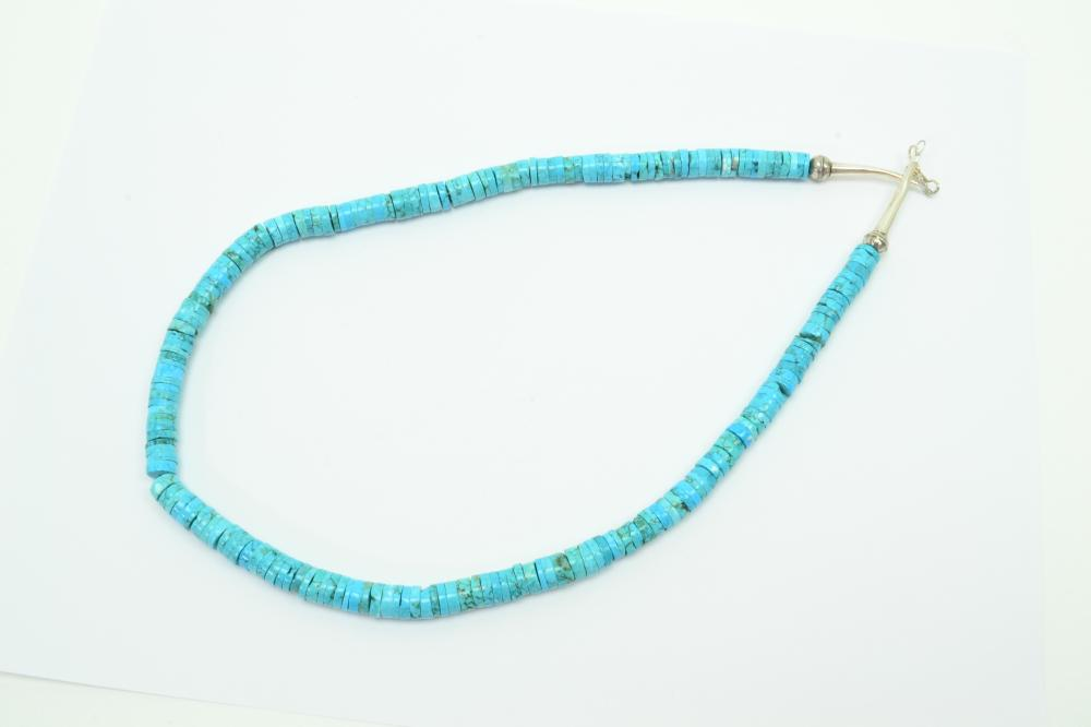301Ct Native American Navajo Sterling Turquoise Heishi Disc Bead Necklace