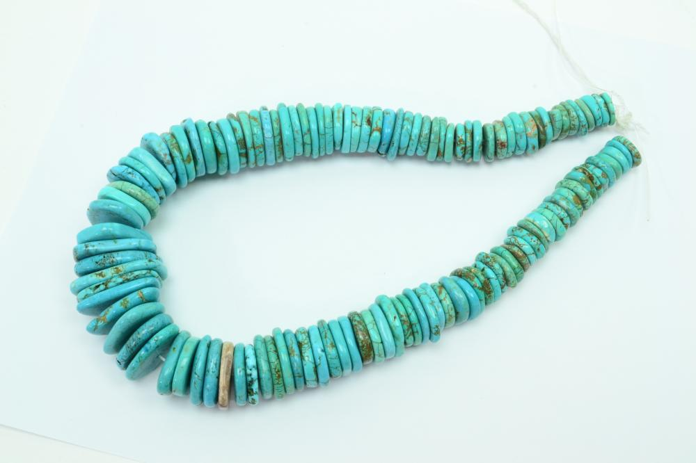 1575Ct Huge Turquoise Graduated Freeform Disc Bead Strand