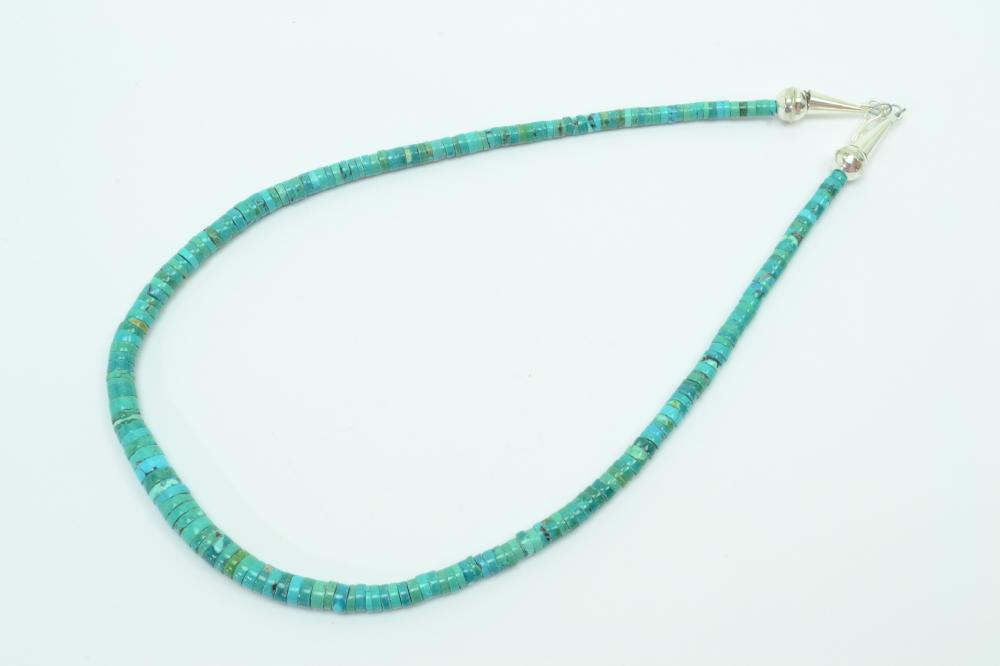 114Ct Native American Navajo Sterling Turquoise Heishi Disc Bead Necklace