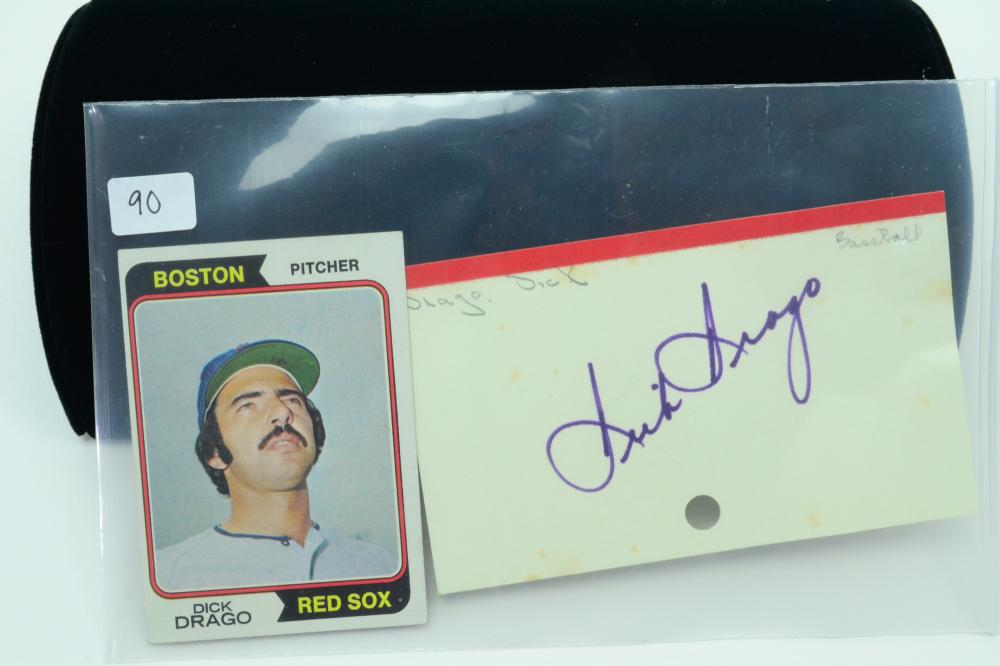 1974 Topps Red Sox Dick Drago Card & Autographed Index Card