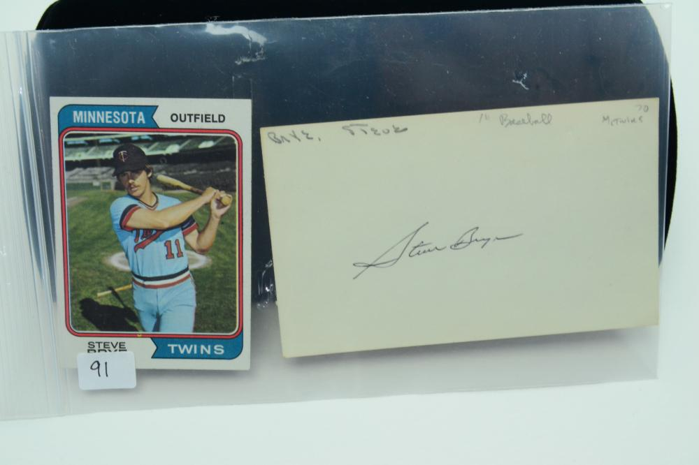 1974 Topps #232 Steve Brye Baseball Card & Autographed Index Card