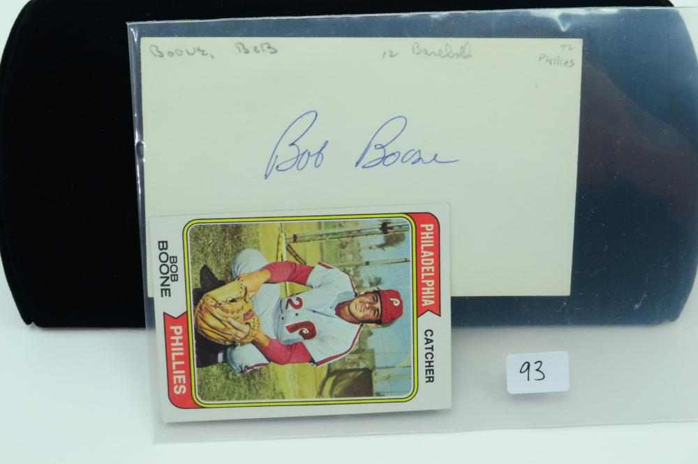 1974 Topps #131 Phillies Bob Boone Baseball Card & Autographed Index Card