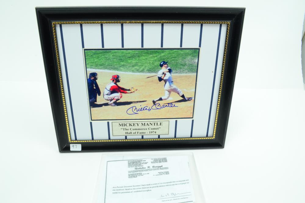 Mickey Mantle Autographed Photo Print With Certificate
