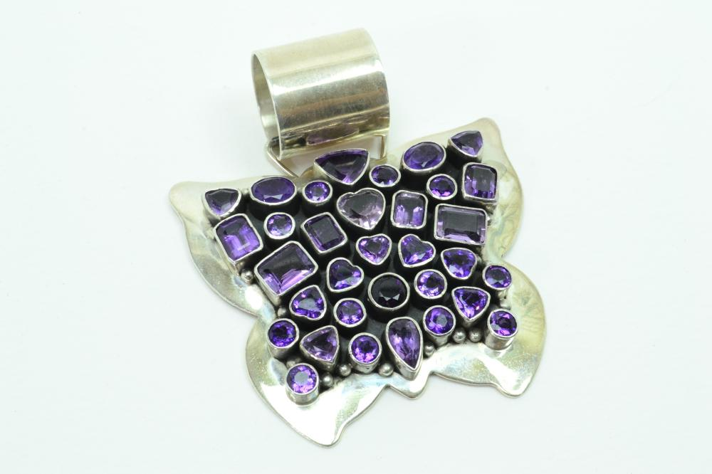 Exquisite Native American Navajo Paul Livingston Sterling Huge Amethyst Cluster Butterfly Pendant 128G