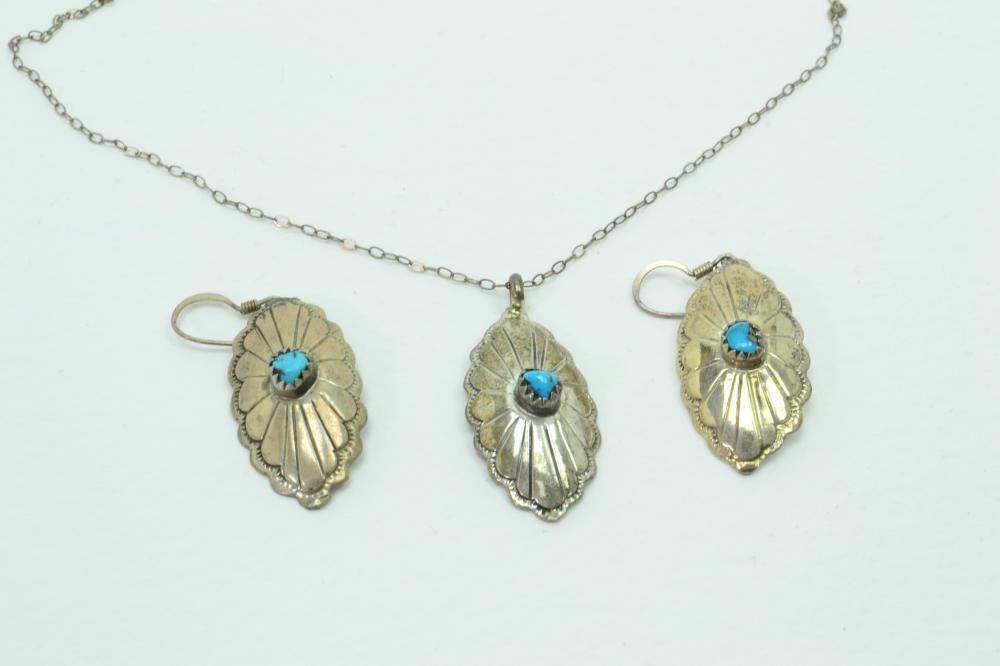 Vintage Native American Navajo Sterling Silver Turquoise Concho Pendant Necklace & Earrings Set 6G
