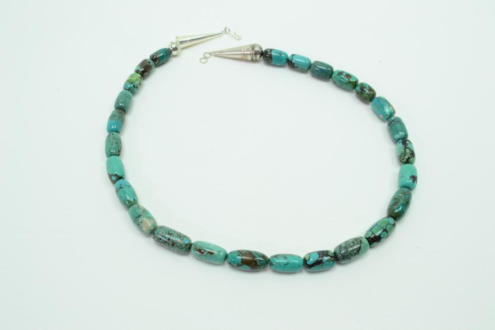 Vintage Native American Navajo Sterling Spiderweb Turquoise Barrel Bead Necklace 53G