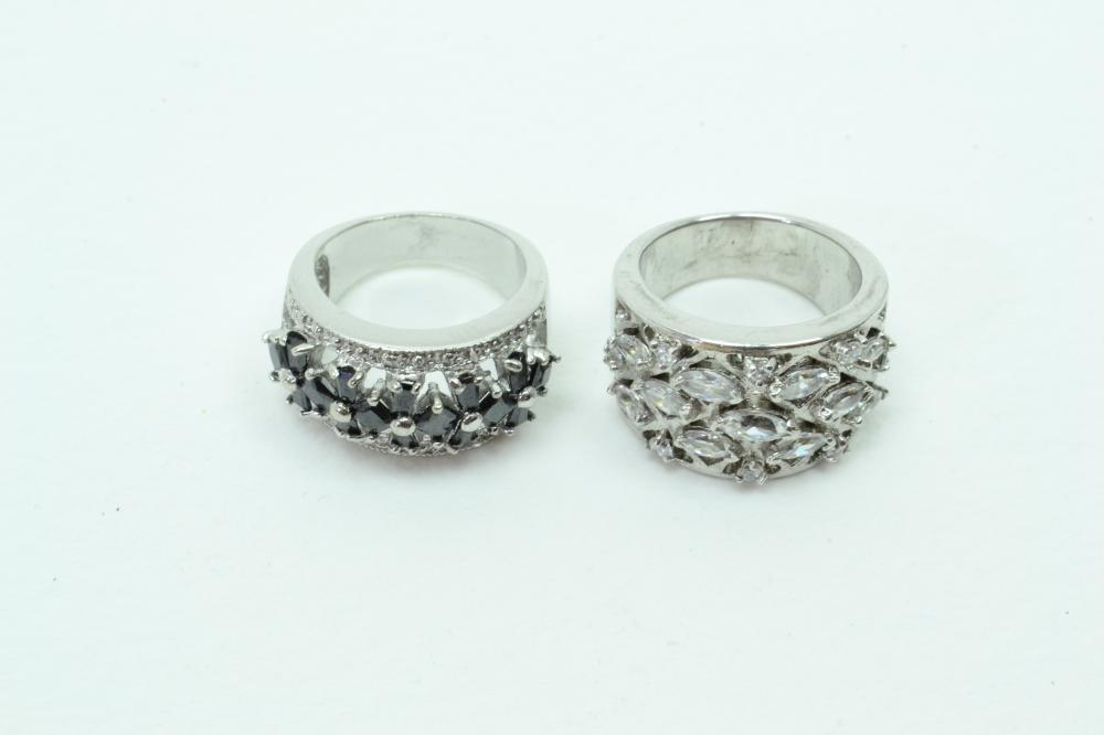 2 Sterling Silver Black & Clear Cz Cluster Fashion Wide Band Rings 17G Sz6&7