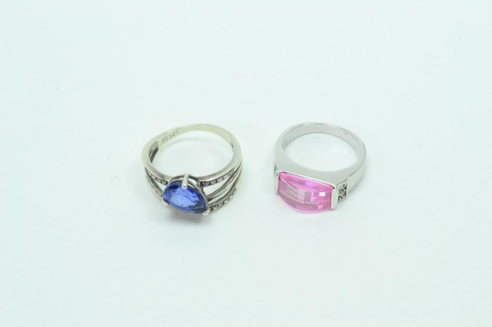 2 Sterling Silver Pink Blue & Clear Cz Fashion Cocktail Rings 8.8G Sz6&8