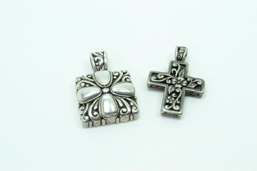 2 Sterling Silver Incised Abalone Cross & Flower Pendants 22G