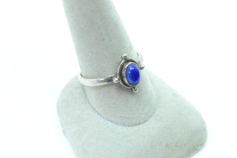 Vintage India Mens Sterling Silver Lapis Ring 3.2 Sz10