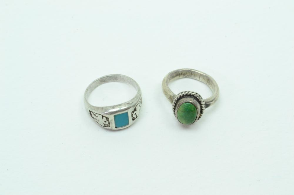 2 Vintage Native American Navajo Sterling Turquoise Thunderbird Rings 7.5G Sz3&5