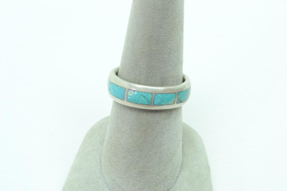 Vintage Native American Sterling Silver Inlaid Turquoise Band Ring 4.4G Sz7.75