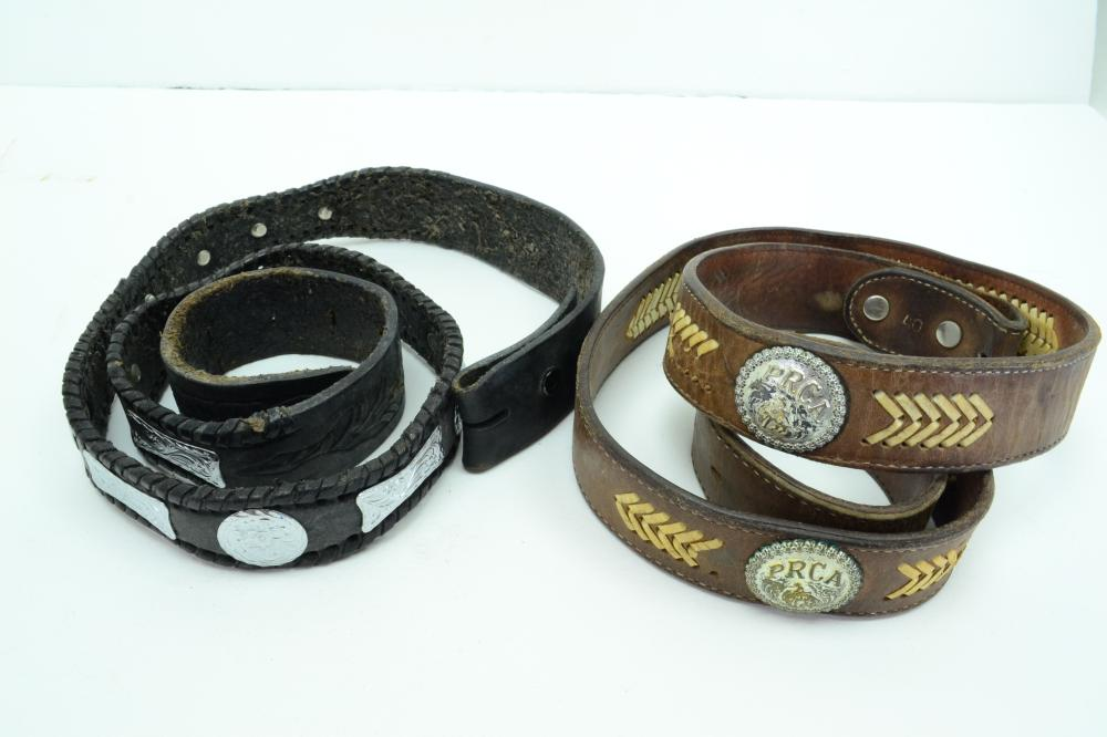 2 Southwestern Leather Concho Belts One With Prca Rodeo Conchos