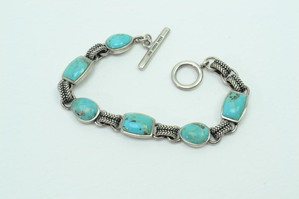 Barse Sterling Silver Turquoise Panel Toggle Bracelet 24G