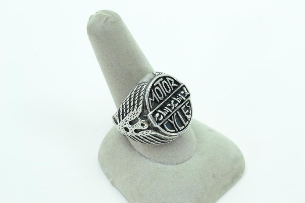 Mens Sterling Silver Motor Cycles Thunderbird Barbed Wire Biker Ring 18G Sz10