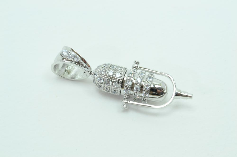 Sterling Silver Brilliant Cz Encrusted Microphone Fashion Pendant 23G